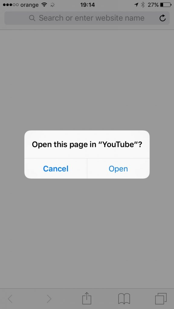 Open YouTube app from Safari