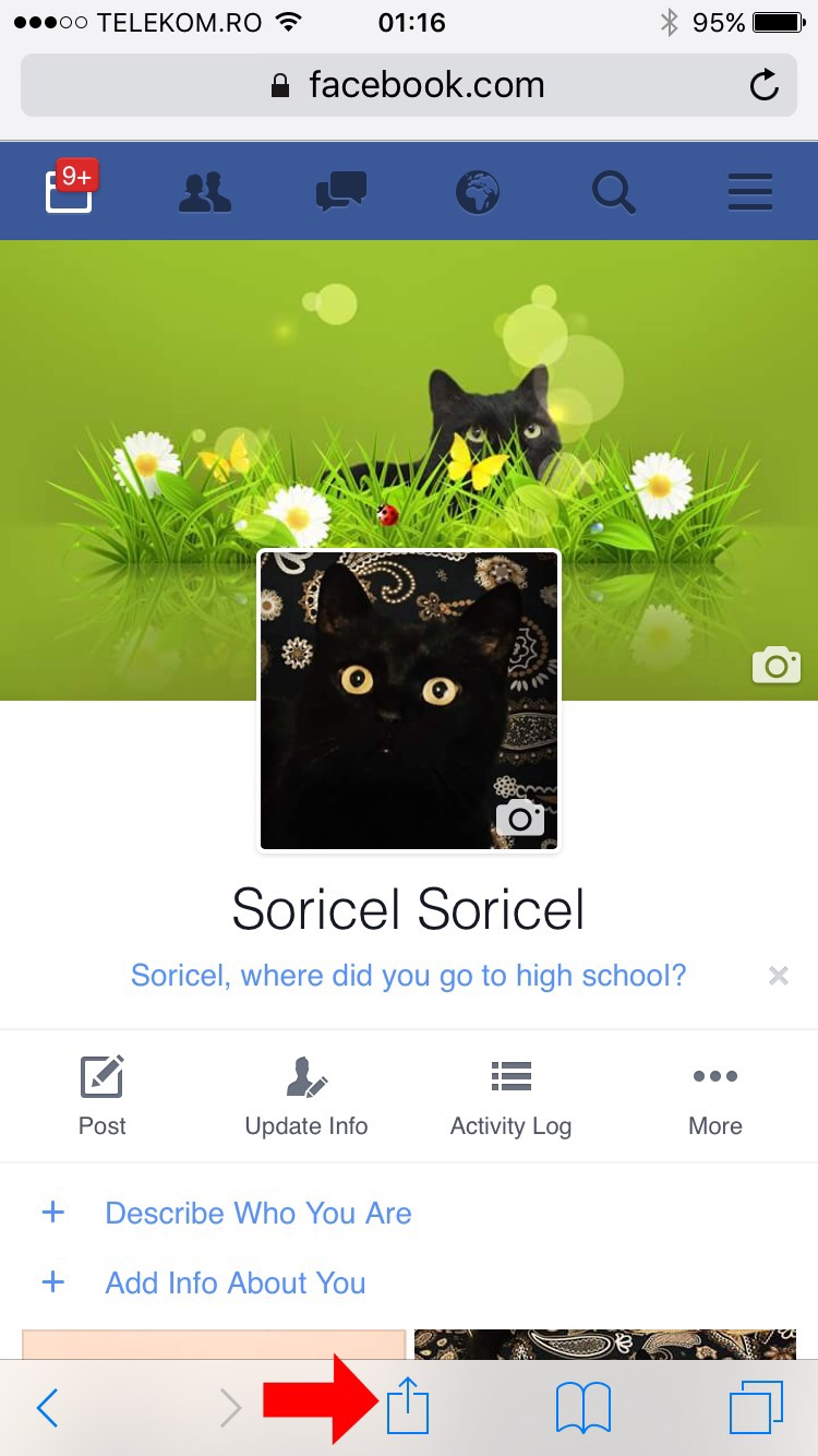 How to add a shortcut to the Facebook profile on iPhone