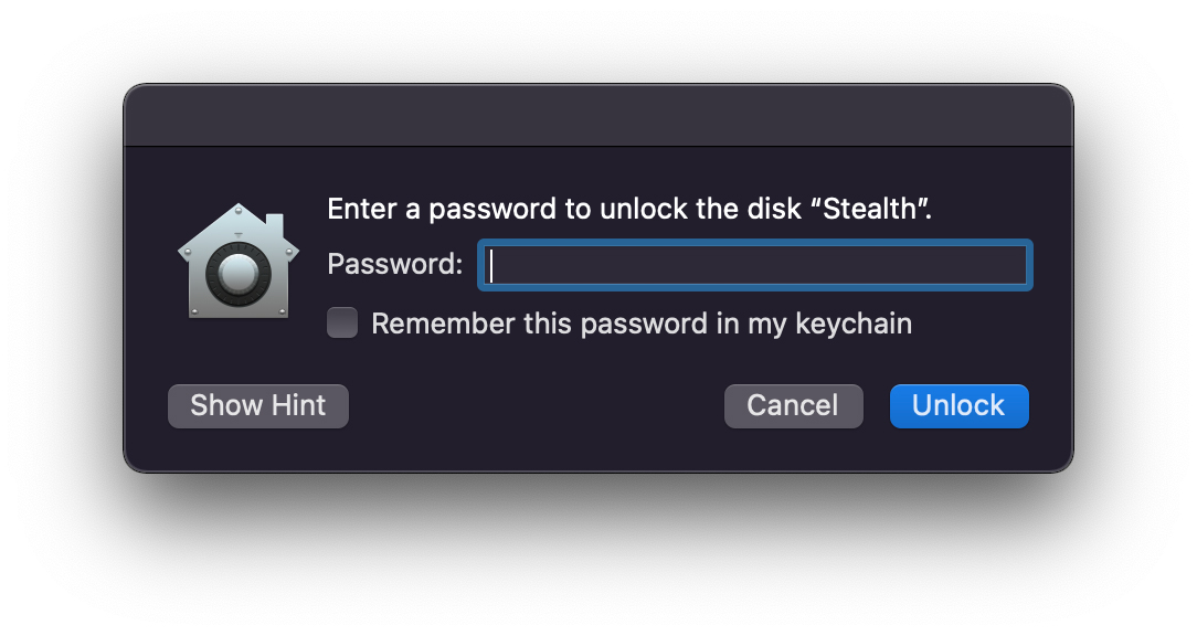 Enter a password to unlock the disk